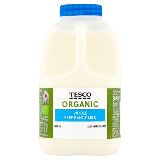 Tesco Organic British Whole Milk 568Ml/1 Pint