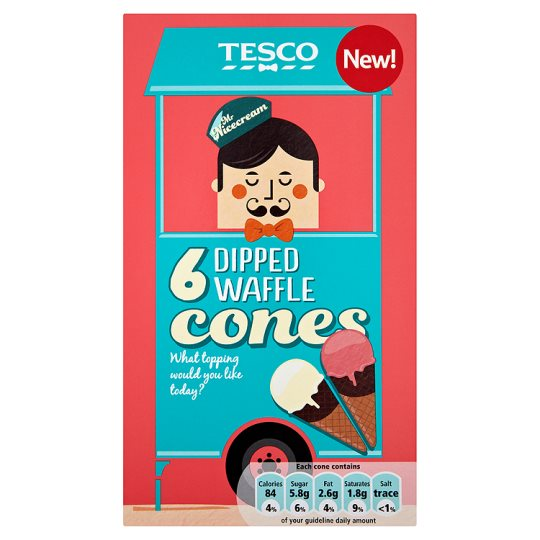 Tesco Dipped Waffle Cones 6'S