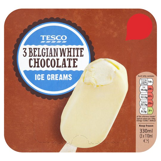 Tesco 3 Belgian White Chocolate Ice Creams 330Ml