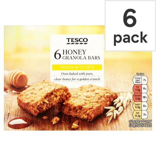 Tesco Oat And Honey Granola Bars 6 Pack 180G