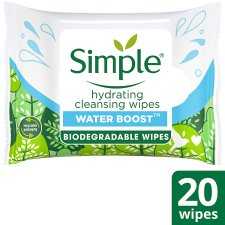 Simple Hydrating Cleanser Facial Wipes 20 Wipes