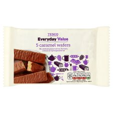 Tesco Everyday Value Caramel Wafer Biscuit 5 Pack 89G