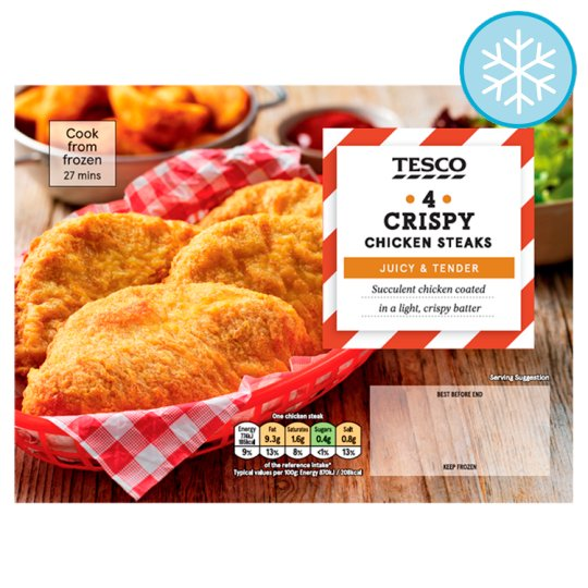 Tesco 4 Crispy Chicken Steaks 380G