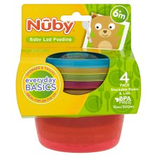 Nuby Stackable Bowls And Lids X4
