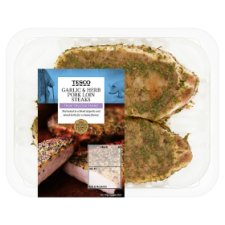 Tesco Garlic And Herb Pork Loin Steaks 287G