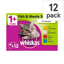 Whiskas 1+ Cat Food Pouch Fish & Meat in Jelly 12x100g