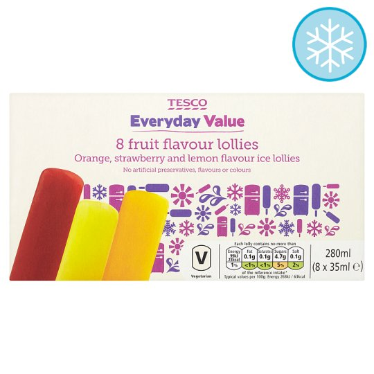 Tesco Everyday Value Fruit Flavoured Lollies 8 X 35Ml