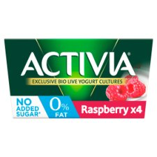 Activia 0% Fat Raspberry Yogurt 4 X125g