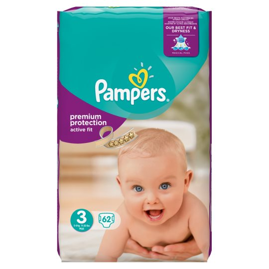 Pampers Active Fit Size 3 Large Pack 60 Nappies