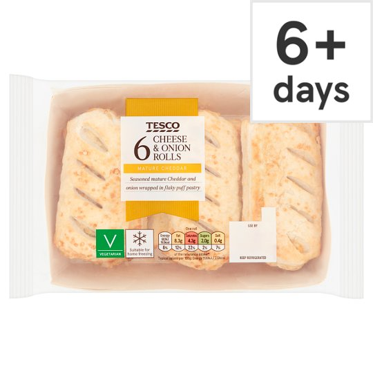 Tesco 6 Cheese And Onion Rolls 360G