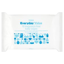 Tesco Everyday Value Baby Wipes Fragrance Free 72