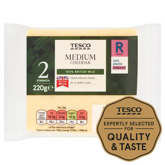 Tesco British Medium Chedder Cheese 220G