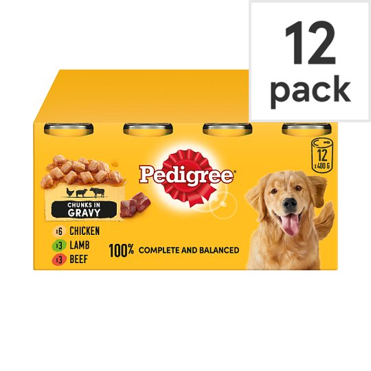 Pedigree Dog Food Tins Meat In Gravy 12x400g Tesco Groceries