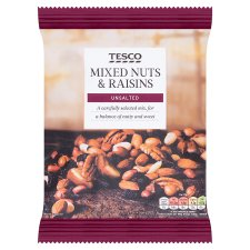 Tesco Unsalted Mixed Nuts And Raisins 500 G