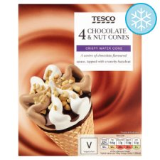 Tesco Chocolate And Nut Cones 4 X 110Ml