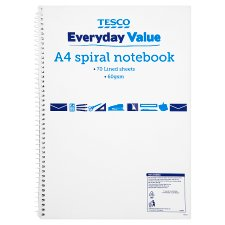 Tesco Basics A4 Spiral Notebook 140 Pages