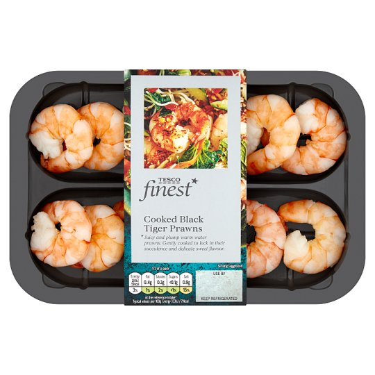 Tesco Finest Cooked Black Tiger Prawns 150G