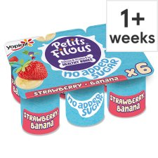 Petits Filous No Added Sugar Strawberry Banana Fromage Frais 6 X 47G