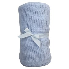 Tesco Cot Bed Cellular Blanket Blue