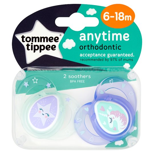 Tommee Tippee Closer To Nature 6-18Mth Anytime Pink Soother X2