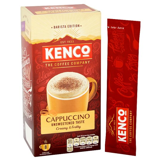Kenco Cappuccino Unsweetened Coffee 8 Sachets 148.8G