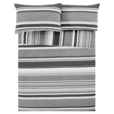 Tesco Black Basic Stripe Duvet Set Single