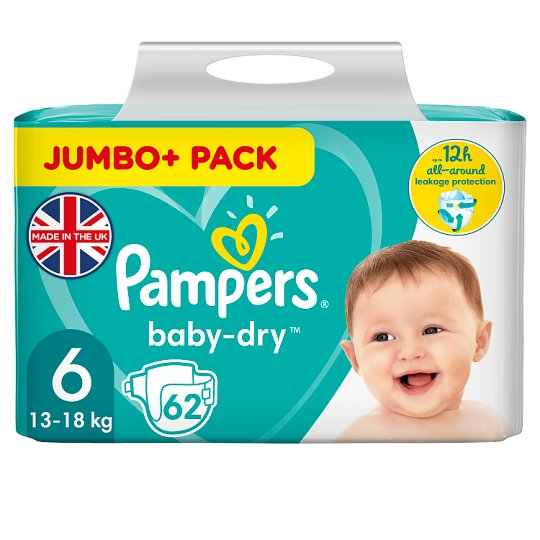 image 1 of Pampers Baby Dry 6 Jumbo+ 62 Nappies