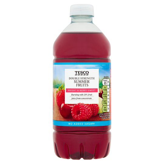 Tesco Double Strength Summer Fruit Squash No Added Sugar 750Ml