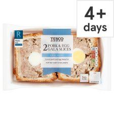 Tesco 2 Pork And Egg Gala Pork Pie Slices 250G