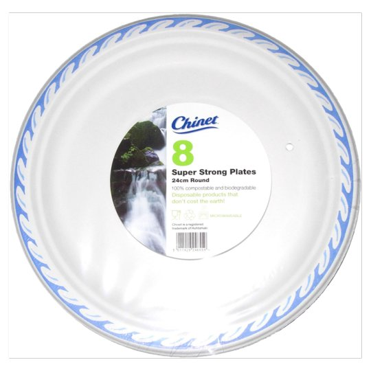 Chinet Plates With Blue Rim 24 Cm 8 Pack