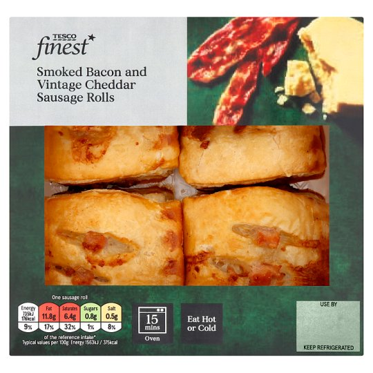 Tesco Finest 4 Cheddar And Bacon Sausage Rolls 188G