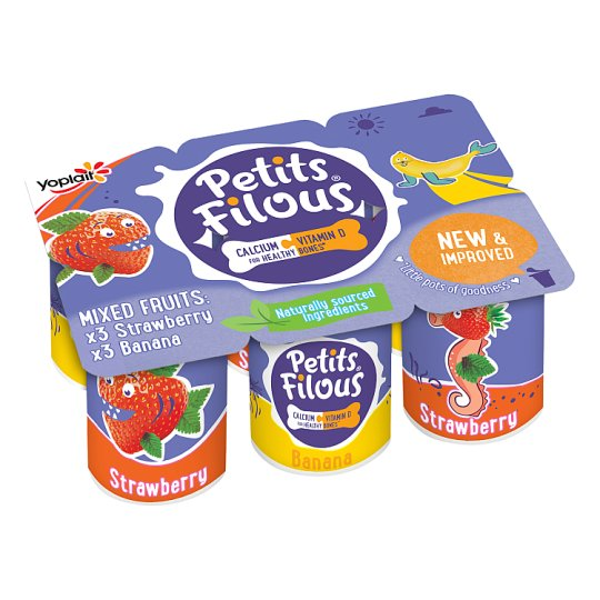 Petits Filous Strawberry And Banana Fromage Frais 6 X47g