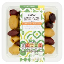 Tesco Greek Olives In Garlic & Herbs 115G