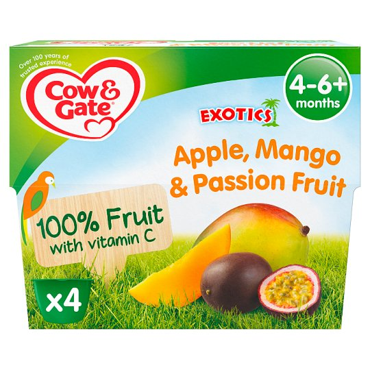 image 1 of Cow & Gate Fruit Cup Apple/ Mango/ Passion Fruit 4 Pack