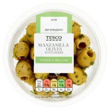 Tesco Manzanilla Olives With Herbs 65G