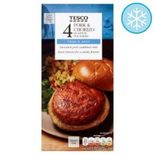 Tesco 4 Pork And Chorizo Quarter Pounders 454G