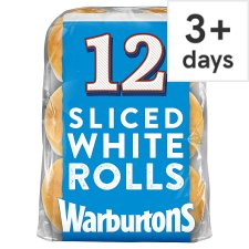 Warburtons White Sliced Sandwich Rolls 12 Pack