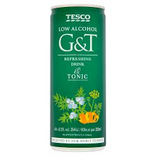 Tesco Low Alcohol G&T Drink 250Ml