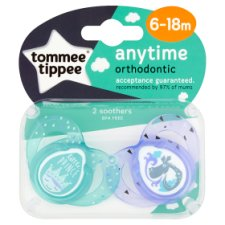 Tommee Tippee Closer To Nature 6-18Mth Anytime Blue Soother X2