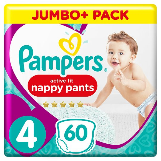 Pampers Active Fit Size 4 Jumbo+ Pack 60 Nappies Pants