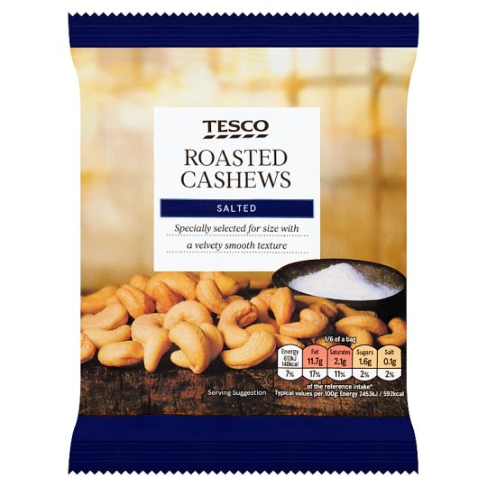 Tesco Roasted Salted Cashew Nuts 150G