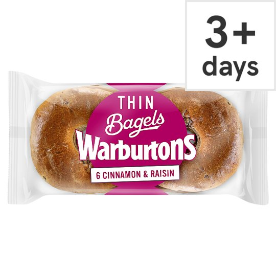Warburtons Thin Bagels Cinnamon And Raisin 6 Pack