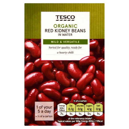 Tesco Organic Red Kidney Beans In Water 380G
