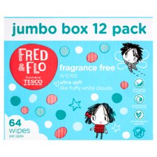 Fred & Flo Fragrance Free Wipes 12X64 Box