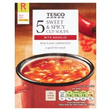 Tesco Sweet And Spicy Noodle Soup In A Mug 5 Pack 115G