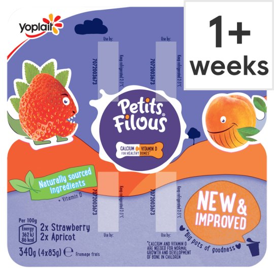 image 1 of Petits Filous Apricot And Strawberry Fromage Frais 4 X85g