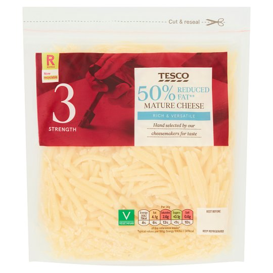 Tesco 50% Reduced Fat Mature Grated Cheese 250G