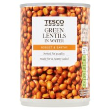 Tesco Green Lentils In Water 390G