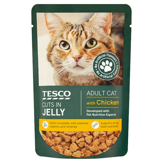 Tesco Standard Cuts In Jelly Chicken Cat Food Pouch 100G
