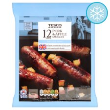 Tesco 12 Pork And Apple Sausages 600G